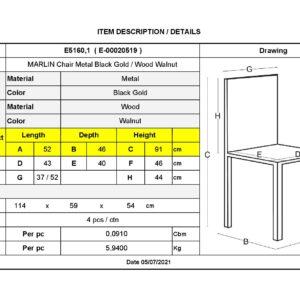 MARLIN Wood Καρέκλα Μέταλλο Βαφή Black Gold